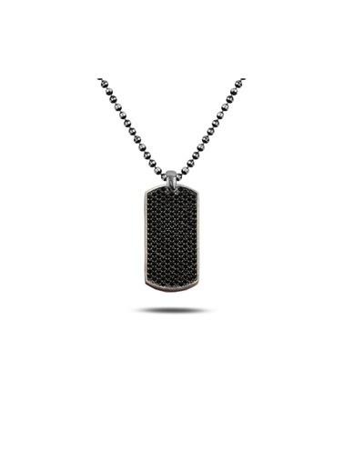 Enesstore Oniks Taşlı Oksitli Dikdörtgen Kolye Top Zincirli Gümüş Kolye Siyah